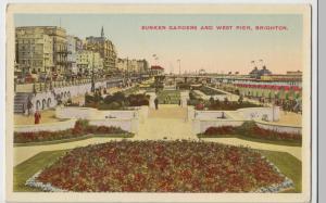 Sussex; Sunken Gardens & West Pier, Brighton PPC Unposted c 1920's
