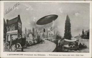 Dirigibile Airship Old Car Oil or Gas Adv Desmarais Freres c1905 Postcard