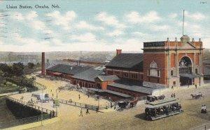 Nebraska Omaha Trolley At Union Railway Station 1910 Curteich sk6192