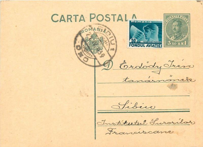 Sibiu 1939 king Charles II uprated stationery postcard