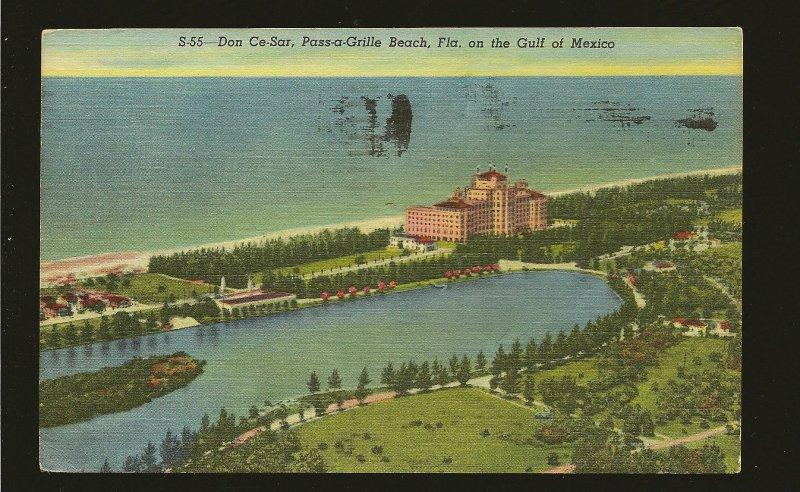 USA Postmark 1955 St Petersburg Fla Pass-a-Grille Beach Florida Linen Postcard