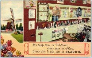 Holland, Michigan Postcard BERT SLAGH & SON Slagh's Gift Store Linen c1940s