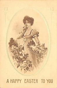 Easter~Lovely Lady In Flower Garden Picks Basket of Spring Blossoms~Germany 1913