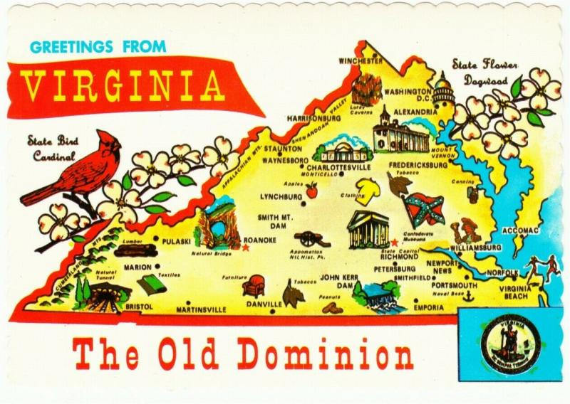Postcard of Greetings from Virginia State Highway Map 1970s ...