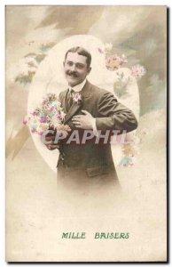 Old Postcard Fancy thousand kisses (man)