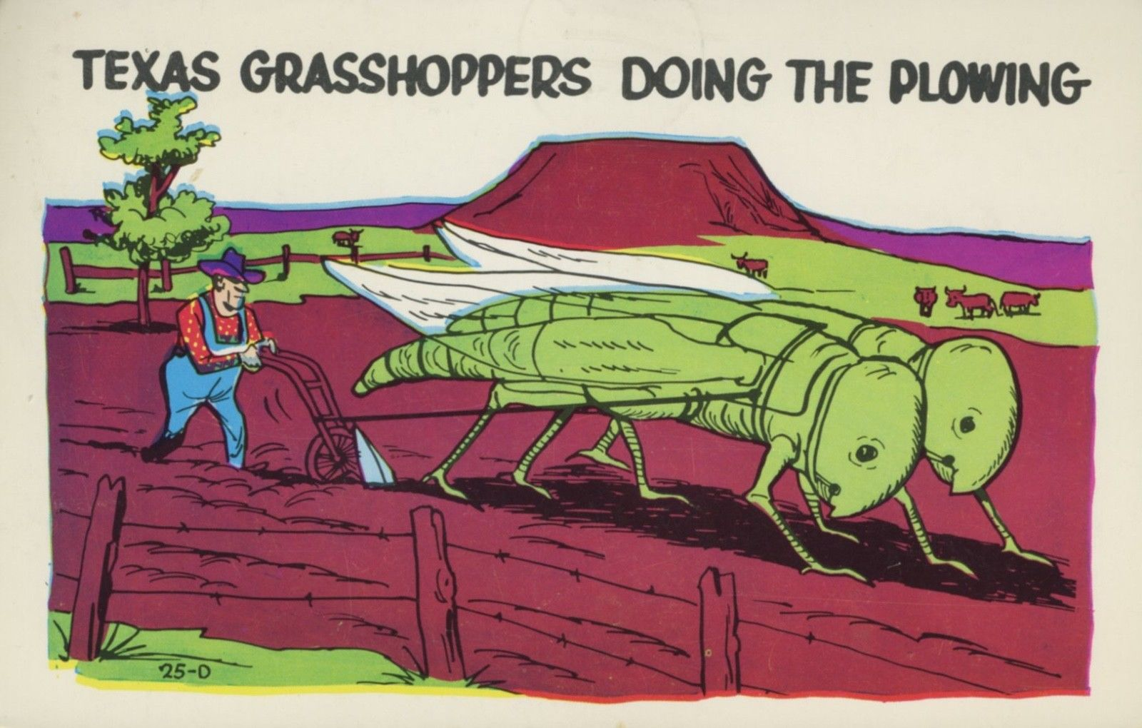 Texas Grasshoppers Doing The Plowing TX Laff Gram Comic