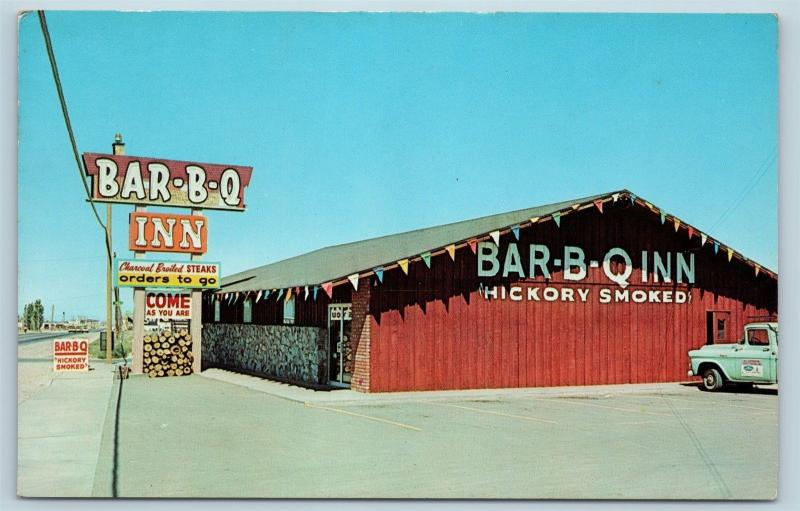 Postcard NM Albuquerque Bar-B-Q Inn Restaurant Route 66 Roadside c1950s M17