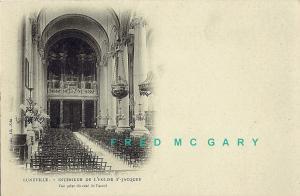 1905 Luneville France Postcard: Interior of L'Eglise St-Jacques
