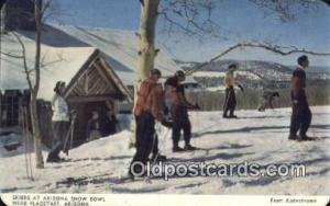 Skiers Leaving The Lodge , Arizona Snow Bowl, AZ USA Skiing Postcard Post Car...