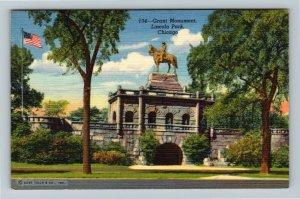 Chicago IL-Illinois, Grant Monument in Lincoln Park, Linen Postcard