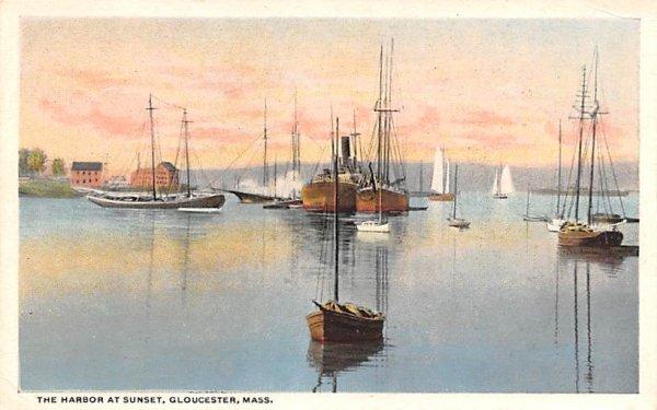 The Harbor at Sunset Gloucester, Massachusetts Postcard