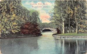 Worcester Massachusetts~Elm Park Scene~Bridge over Lake~c1910 Mason Bros Pc