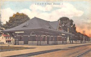 Wauseon OH L. S. M. S Railroad Station Train Depot Postcard