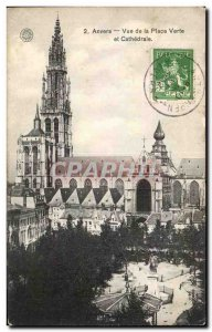 Postcard Old Antwerp View of Green Square and Cathedral