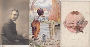 A Quiet Smoke By Boats Schieber Comic 3x Old Smoking Postcard s