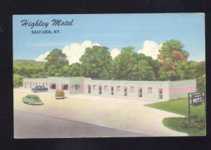 SALT LICK KENTUCKY HIGHLEY MOTEL VINTAGE LINEN ADVERTISING POSTCARD KY.
