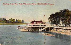 Portland Oregon~Oaks Amusement Park Steamer Landing~Willamette River~1908 PC