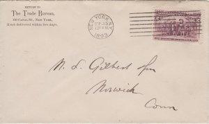 NEW YORK CITY - THE TRADE BUREAU 1893 envelope + Columbus stamp / CREDIT BUREAU