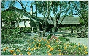 Pomona,  California Postcard Adobe de Palomares Patio View c1960s Unused
