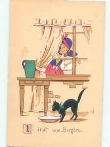 foreign Old Postcard signed FRENCH GIRL WATCHES BLACK CAT DRINK MILK AC2857