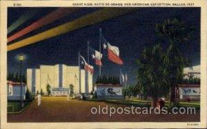 Night View, Patio De Honor Pan American Exposition 1937 Dallas Texas USA Unused