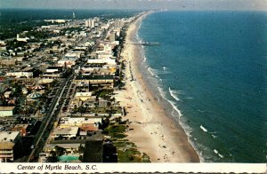 South Carolina Myrtle Beach Looking North Along The Strand From Pavilion Area