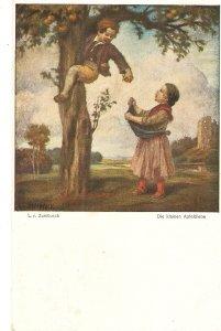 L.v.Zumbush. Little children. Die kleine Apfeldiebe Fine painting, vintage Ger