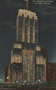 Palmolive Building By Night Chicago Posted Illinois Vintage Linen Post Card