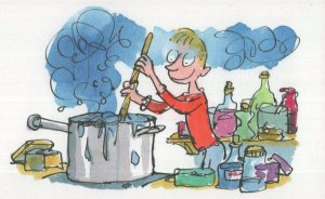 Roald Dahl George's Marvellous Medicine Cooking Pot Postcard