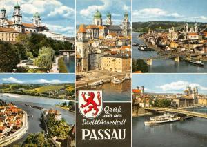 Germany Gruss aus der Dreiflussestadt Passau multiviews Church Bridge Kirche