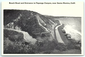 VTG Postcard CA California Topanga Canyon Santa Monica Beach Road Old Car Sea A5