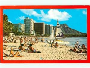 Old Vintage Postcards Waikiki Hawaii Beach # 1611A