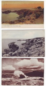 P1387 3 old unused postcard cliffs rocks rough water nahant beach mass