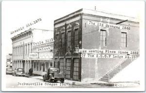 Jacksonville, Oregon RPPC Real Photo Postcard Street View w/ Masonic Bldg 1947