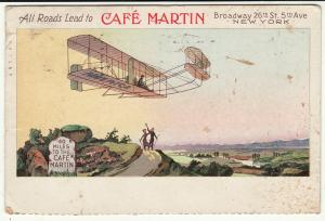 1910 Cafe Martin Broadway 26th Street 5th Avenue New York Bi-plane postcard