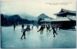 Vintage Nikko, JAPAN Postcard Ice Skating on the Lake Placid, KANAYA HOTEL