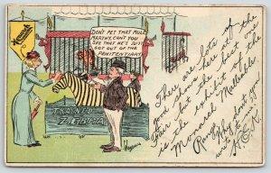 Monarch Malleable Ranges~Fair Zebra~Mule Just Out Prison~Artist~1908 Adv PC