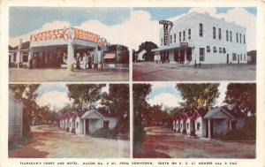 Macon Georgia~Flanagan's Court & Motel~Cabins~Texaco Gas Station~1950 Postcard