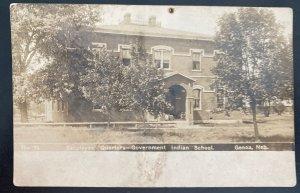 1908 USA RPPC Postcard Cover Native American Government Indian School