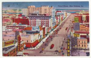 P1033 old linen card birds eye view many signs cars canal st view new orleans la