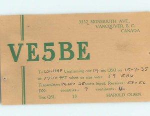 1930s QSL RADIO CARD Vancouver British Columbia BC AH3161