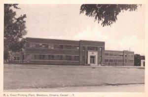 RL Grain Printing Plant Westboro Ontario Canada Antique Postcard