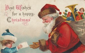 CHRISTMAS, 1908 ; Santa Claus takes letter from kid ; Ellen CLAPSADDLE
