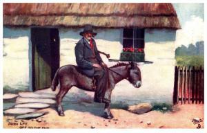15012  Tuck's no. 9185    Irish Men  1910   Man on Donkey