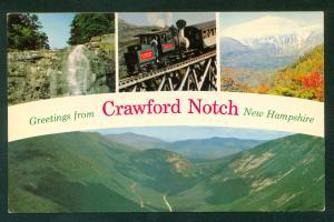 Crawford Notch Arethusa Falls Cog Railway Mt Washington NH Railroad Postcard