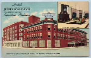 Postcard AL Anniston Hotel Jefferson Davis Multiview Lobby Exterior Linen Q12