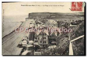 Old Postcard Pourville Sur Mer The Beach And Cliffs Of Dieppe