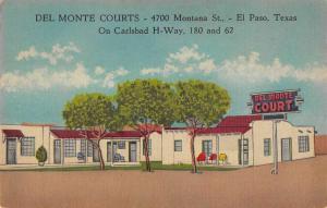 El Paso Texas courtyard view Del Monte Courts linen antique pc ZA440458