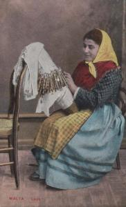 Malta Maltese Lady Lace Making Craft Antique Crafts Postcard