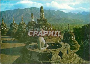 Postcard Modern Central Java Indonesia Open With A Budha Stupa at Borobudur I...